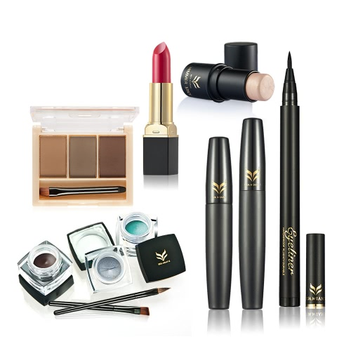 Marca Huamianli 6pcs Set Maquiagem Highlighter Shimmer Stick Lipstick Eyeliner Mascara Sobrancelha Pó Eyeliner Pen Kit Cosmetic