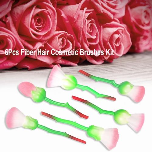 6Pcs Makeup Brushes Set Fiber Hair Cosmetic Brushes Kit Flower Shape Foundation Powder Concealer Blush Brush Makeup Tool