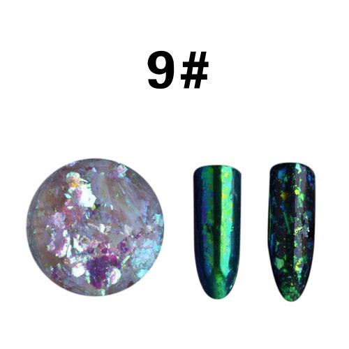 Transparente Brokat Puder Spiegel Nagel Glitzer Pigment Powder Maniküre Nail Art Glitzer Chrom Powder Dekorationen 01