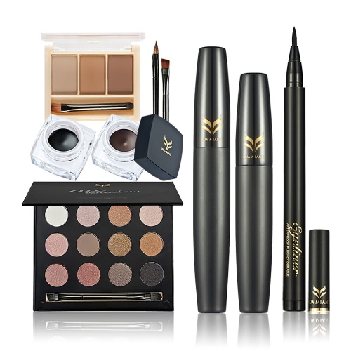 Huamianli 5Pcs Kosmetik-Kit Make-up-Set 12 Farben Eye Shadow Eyeliner Pen Gel Augenbraue Pulver Wimperntusche Kit Wasserdicht Langlebige Make-up-Tool