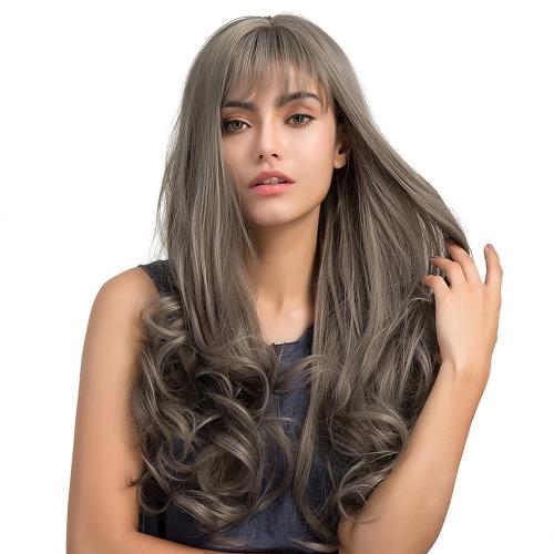 """24.8 """"pelucas de pelo rizado largo gris con flequillo Natural de alta densidad peluca sintético a prueba de calor mujeres chica Cosplay"""