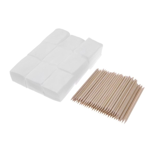 900pcs Nail Cotton Wipes UV Gel Nail Tips Polish Remover Cleaner Lint Paper Pad + 100pcs Wood Sticks Cuticle Pusher Care Tools