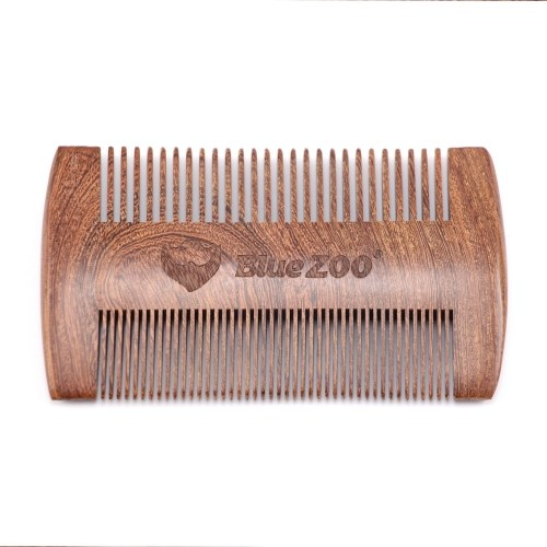 Wooden Hair Comb Man's Beard Comb Anti-static Male Mini Facial Hair Beard Comb Wood Massage Comb with PU Bag W6879