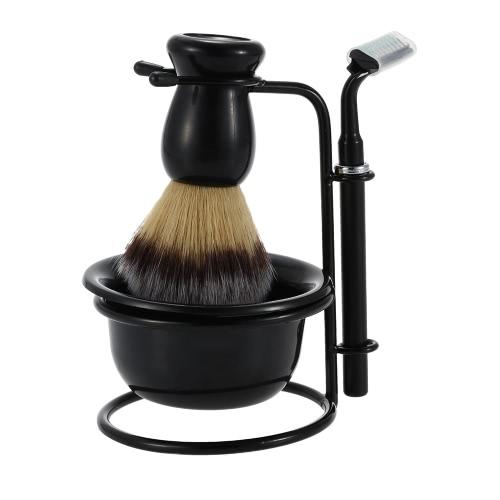 4 In 1 Men's Shaving Razor Set Dry & Wet Male Black Facial Cleaning Tool Shaving Holder + Razor + Soap Bowl + Badger Brush
