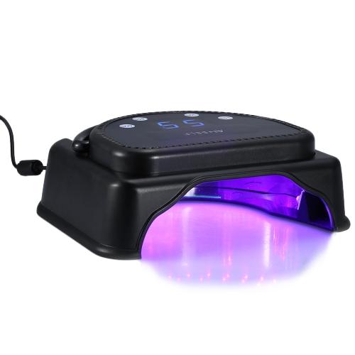 Anself 110-240 v 64W Pro 32pcs LED ネイル ドライヤー ハンドル タッチ センサー液晶画面強力なマニキュア ゲル乾燥のサロン ツール EU プラグ黒を持ち上げると加硫機ランプ