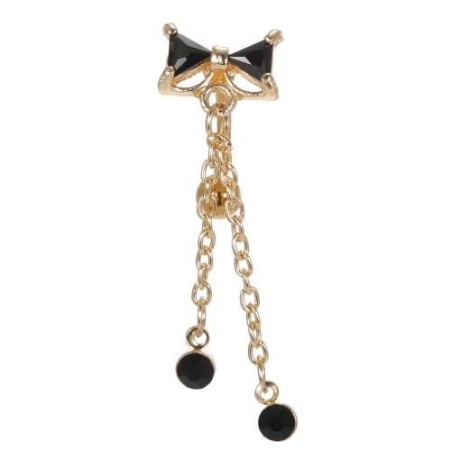 1pc bowknot Umbigo Anel Body Piercing Rhinestone Botão Bar Jóia inoxidável Aço Perfuração Acessórios para meninas Preto