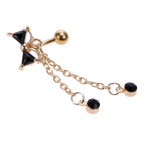 1pc Bowknot Navel Ring Body Piercing Rhinestone Button Bar Jewelry Stainless Steel Piercing Accessories for Girls Black