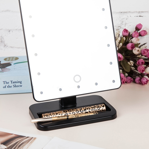 Image of High Quality Fashion Adjustable 20 LED Light Lady Girl Beauty Cosmetic Square Vanity Desk Stand Makeup Mirror ABS Rotatable Touch Screen