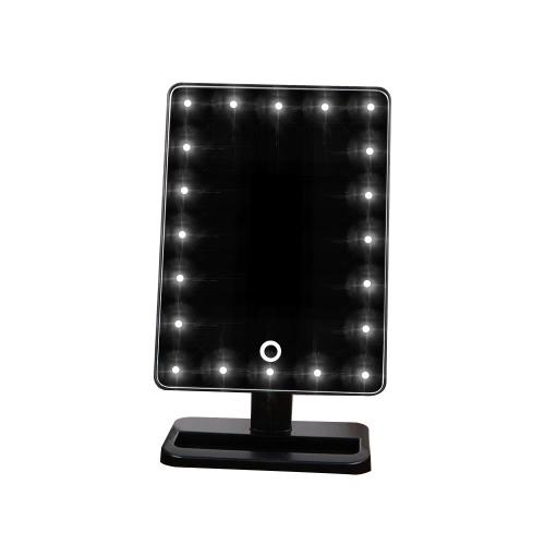 高品質のファッションアジャスタブル20 LEDライトレディーガール美容化粧品スクエアバニティデスクスタンド化粧鏡ABS回転式タッチスクリーン