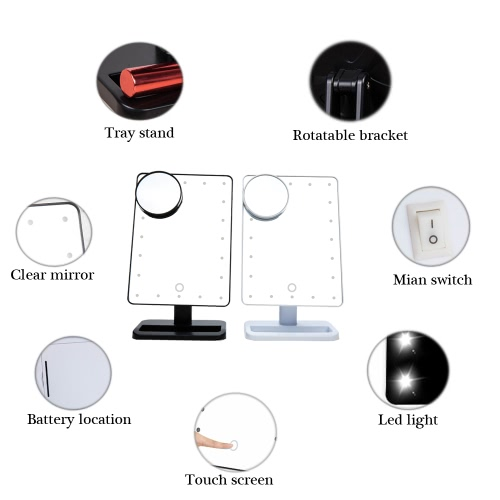 Image of High Quality Fashion Adjustable 20 LED Lights Lady Girl Beauty Cosmetic Square Vanity Desk Stand Makeup Mirror ABS Rotatable with a 10X Magnifying Sucker Mirror