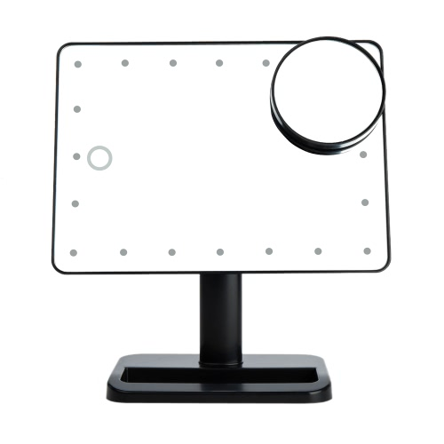 Qualitäts-Art- und Adjustable 20 LED-Leuchten-Dame-Girl Beauty Cosmetic Platz Vanity Desk Stand Make-up-Spiegel ABS Drehbare mit einem 10fach Vergrößerungs Sucker Spiegel