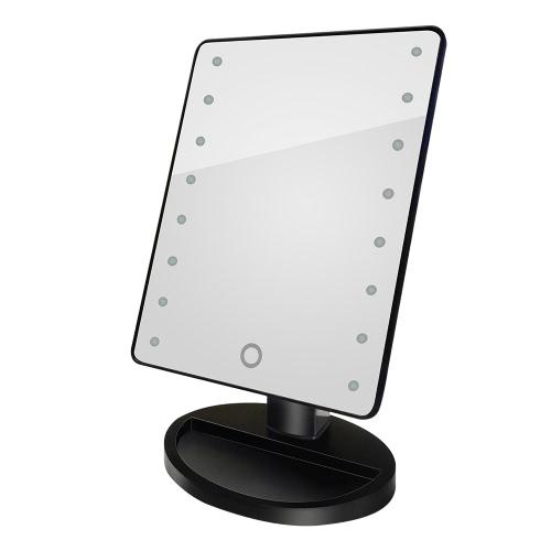 Qualitäts-Art- und 16 LED-Licht Make-up Spiegel Drehbare Touch-dimmbare Helligkeit einstellbar Dame Girl Beauty Cosmetic Platz Vanity Desk Stand