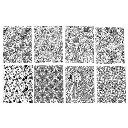 8 hojas / Black Pack 3D para las uñas Pegatinas Adhesivos de parche metálico Flores Designs For herramienta accesoria Salón de clavos del arte inclina la decoración