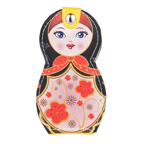 6pcs Russian Doll Padrão Manicure Beleza Ferramentas Set aço inoxidável bolsa de couro Case Earpick Clippers Tweezers Scissors File