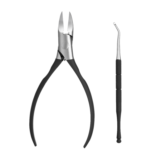 2pcs Nail Cuticle Scissor Nail Cleaner Toe Nail Clippers Trimmer Cutters Professional Paronychia Nippers Nail Grooming Kit com caixa de armazenamento Black