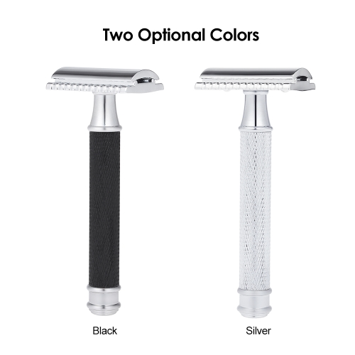 Double Edge Safety Razor Stainless Steel Manual Shaving Razor Long Handle Traditional Razor W5982B