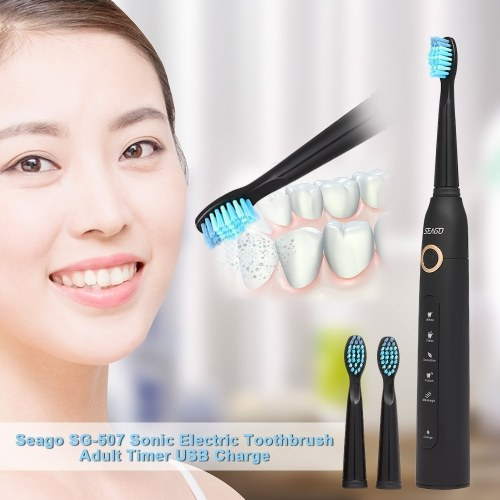 Seago SG-507 Sonic Electric Rechargeable Timer Toothbrush with 2 Extra Heads