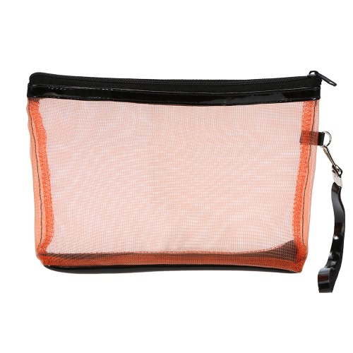 Anself Damen Kosmetik Make-up Taschen Nylon Mesh + Zipper Design Tragbarer beiläufige Spielraum-Speicher-Toilettenartikel Taschen Toilettartikel 5 Farben für die Auswahl orange