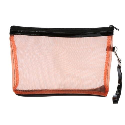 Anself maquillaje cosmético de las señoras bolsas de nylon de malla + diseño de la cremallera portátiles ocasionales del recorrido del almacenaje de artículos de tocador bolsas de aseo 5 colores para la selección de Orange
