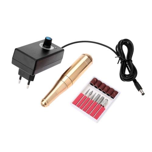 100-240V Elektro Nagel Bohrmaschine Pen Nagellack Shape Tool Maniküre Maschine Gold EU-Stecker