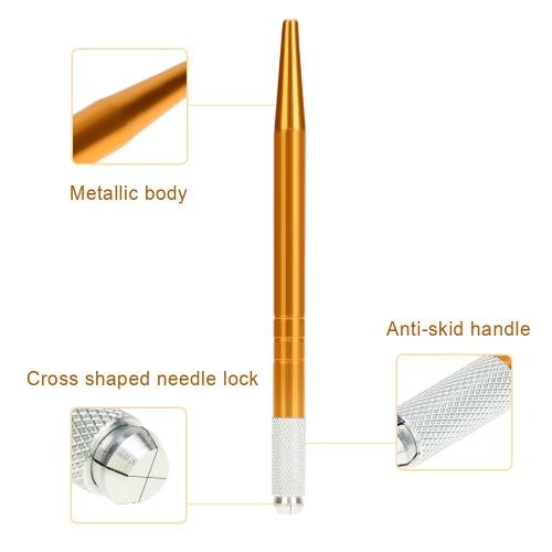 Manual de pluma de la ceja del maquillaje del tatuaje El tatuaje permanente MicroBlade bordado de la ceja del lápiz de oro