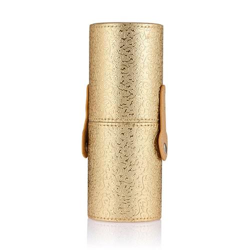 ANSELF Titular de cepillo del maquillaje de la Copa organizador del envase cosmético de la PU 4 colores Almacenamiento de Herramientas cepillos redondos Portatubo de oro