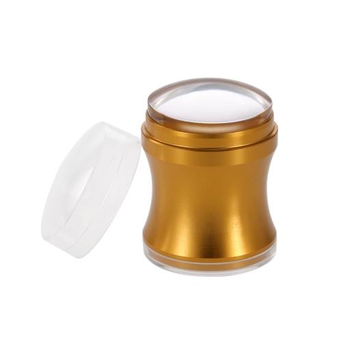 4cm Metallnagel Stamper-Nagel-Kunst-Silikon-Gelee Klar Stamper Schaber Set Nagellack Stamping Maniküre Werkzeuge Stempel Scraper Kit Goldene