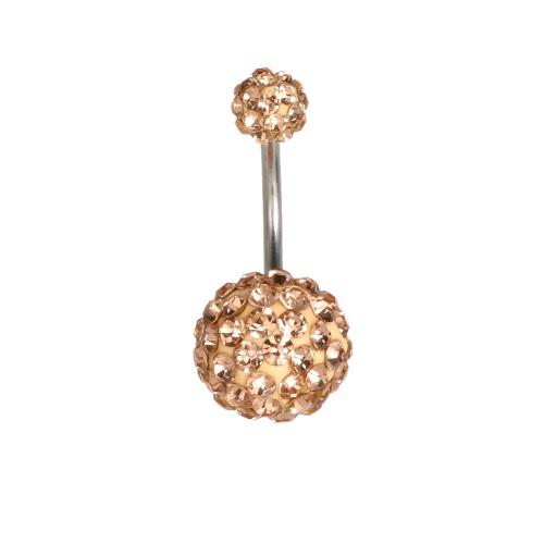 1Pc пупка Navel Бар кольца Пирсинг ювелирные изделия из нержавеющей стали Пирсинг Бар 10мм и 6мм золото