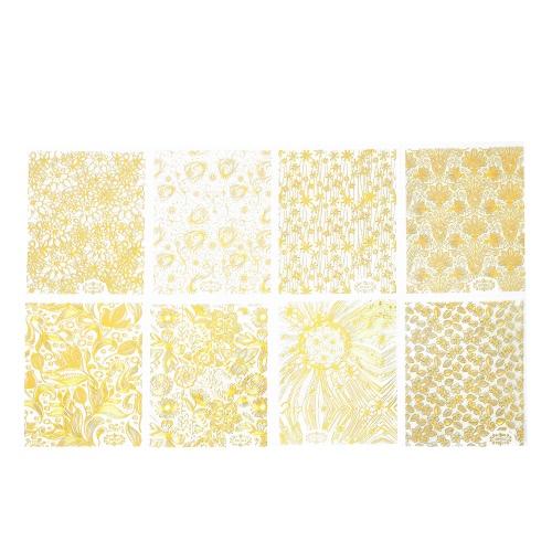 8 Blatt / pack Gold3d-Nagel-Kunst-Aufkleber-Abziehbilder Patch-Metallic Blumen Designs für Nägel Kunst-Dekoration Tipps Salon TOOL