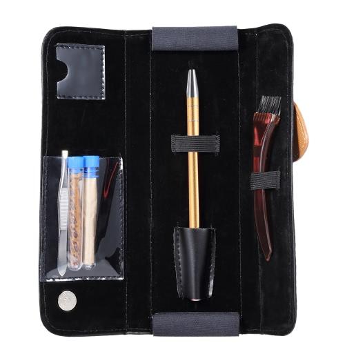 Нержавеющая сталь Pen Razor Set Salon Magic Engraved Pen для DIY Hair Bears Beards Styling Pen Razor с клинковыми пинцетами PU сумка