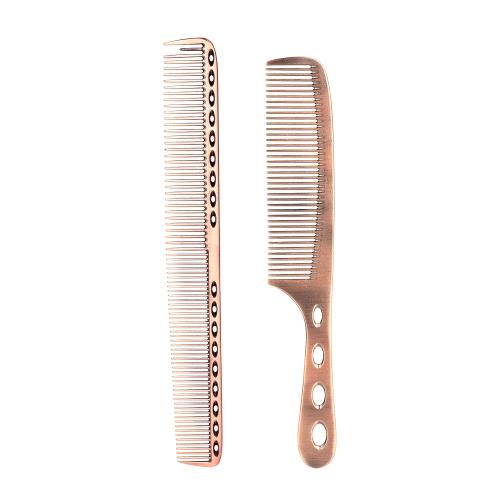 2 Stücke Salon Haarkamm mit Skala Professionelle Friseur Stahl Kamm Metall Haarschneide Kamm