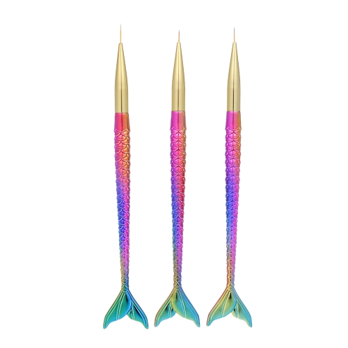 3 unids / set Nail Art Pincel de Pintura 5/7 / 10mm Nail Art Pintura Pincel de Pintura para Gel UV Manicura Nail Liner Tool