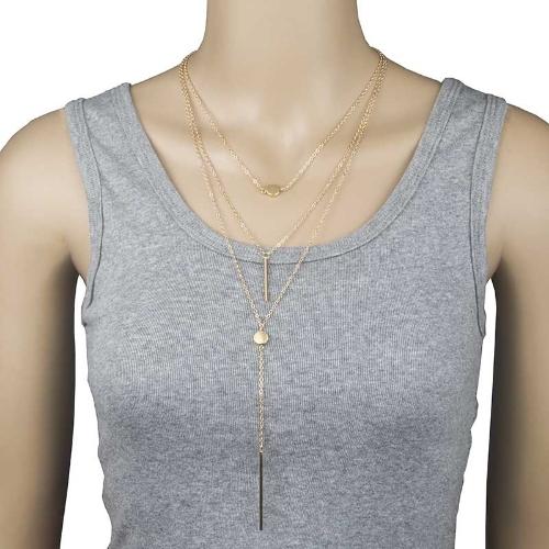 Collar de múltiples capas atractivo de las mujeres pequeños puntos collares delicados diseño elegante y de ocio para las mujeres