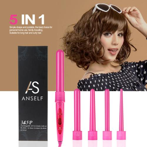 Anself Professional Hair-Lockenwickler-Rollen 5 in 1 Funktionen Zylindrische 5 Curling Irons Stab Set Perm Haar Curling Instrument Rosa UK-Stecker