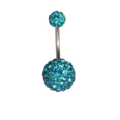 1Pc Navel пупка адвокатского сословия кольца Пирсинг ювелирные изделия из нержавеющей стали Пирсинг Бар 10мм и 6мм синий