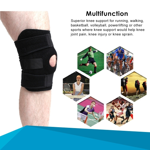 Knee Protector Knee Brace Support Adjustable Breathable Neoprene Knee Band Open Patella Knee Protector For Running Basketball Sport Arthritis L Size