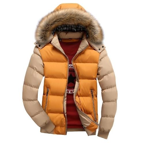 2017 ropa de algodón de plumas de invierno de los hombres chaqueta delgada de algodón con capucha ocasional de color caqui y azul M