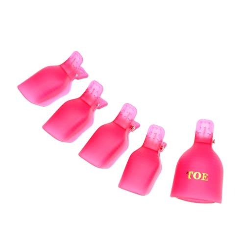 5 x UV Gel Nail Entferner Soaker Caps Nagellack durchtrainiert aus Zehennagel Clips