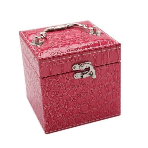 Ручного портативных моды высокого класса Кожа PU Jewelry Box 3 слоя держатель для хранения площади Cu Ca Часов Ожерелье Кольца серьга аксессуары дисплей с зеркалом для макияжа подарка