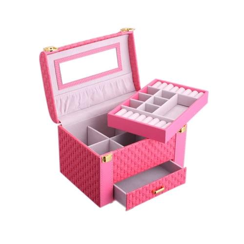 Портативный дисплей ювелирных изделий для макияжа Ларец Box 3 слоя держатель Организатор чехол Выдвижной ящик для подарков Вязание Pattern часы ожерелье кольцо серьги аксессуары с зеркалом для макияжа съемными Dividers