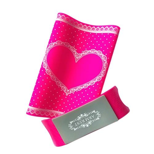 1 Satz Silikon-Hand-Kissen & Table Mat-Nagel-Kunst-Kissen-Halter Auflage-waschbare faltbare Armlehne Maniküre-Werkzeug Rosy