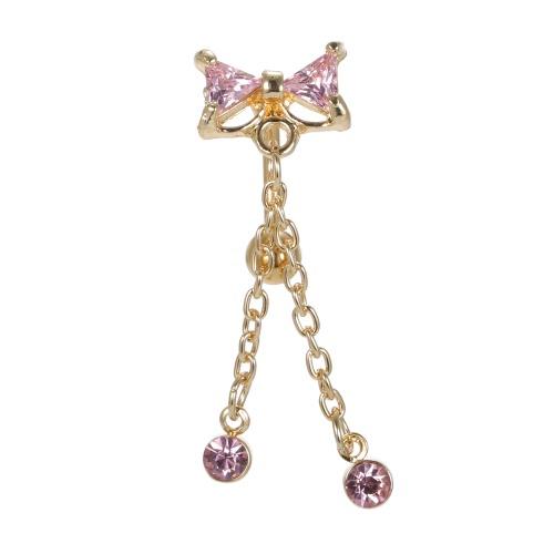 1шт Bowknot Navel Ring пирсинга Rhinestone Button Bar ювелирные изделия из нержавеющей стали пирсинг аксессуары для девочек розовый