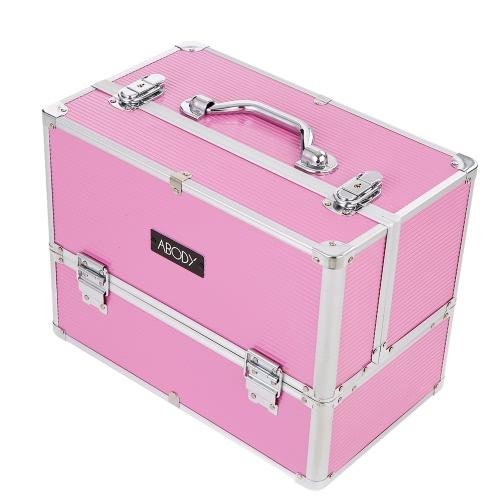 Abody de maquillaje de aluminio de tren del caso cosmético organizador de la joyería Caja de almacenamiento con cierre extensible 6 bandejas Rosa