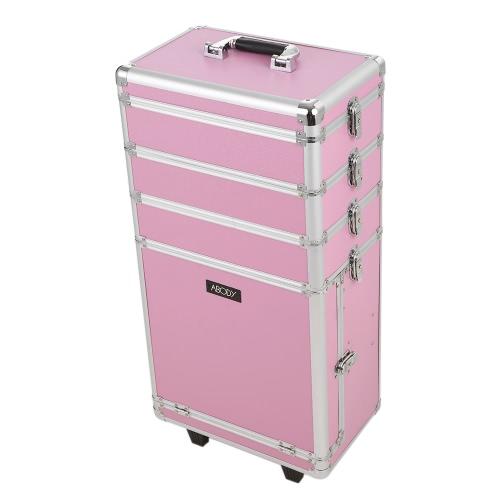 Abody rolamento Cosmetic Train Caso Organizador maleta de maquiagem, extendida com caixa de armazenamento de bloqueio de bandejas Maquiagem Rosa