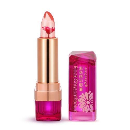 Hengfang Negro Crisantemo de los lápices labiales cambiado de temperatura-Labios Bálsamo Labial Hidratante transparente Jelly barras de labios color de rosa