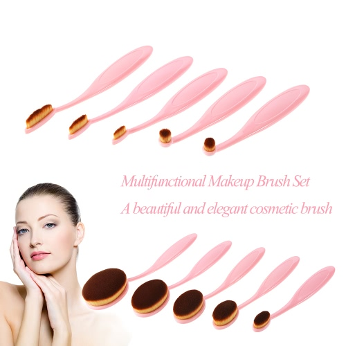 10pcs Anself Cosmetic Oval Makeup Brush Set Soft Toothbrush Foundation Cream Powder Blush Brush Kits Professional Makeup Cosmetic Tool Pink