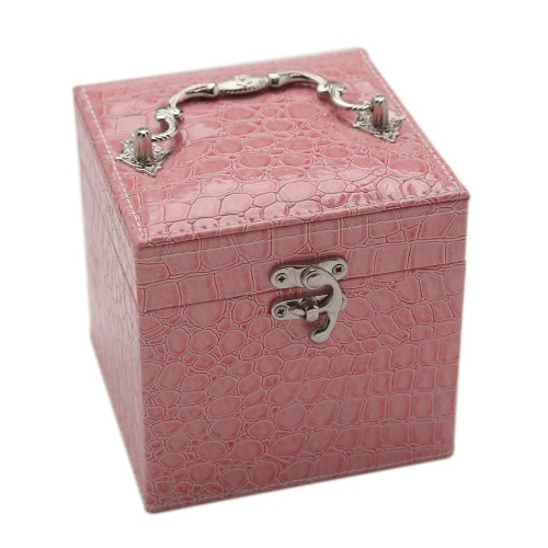 Handheld Portable Fashion High Grade PU Leather Jewelry Box 3 Layers Holder Storage Square Cube Case Watch Necklace Ring Earring Accessories Display With Makeup Mirror Gift