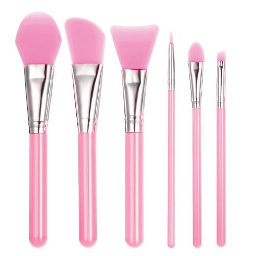 6pcs Silikon-Make-up-Pinsel-Set Gesichtsmaske Foundation-Bürsten-Kosmetik Lidschatten Augenbraue-Bürste-Ausrüstung mit Kunststoffgriff rosa