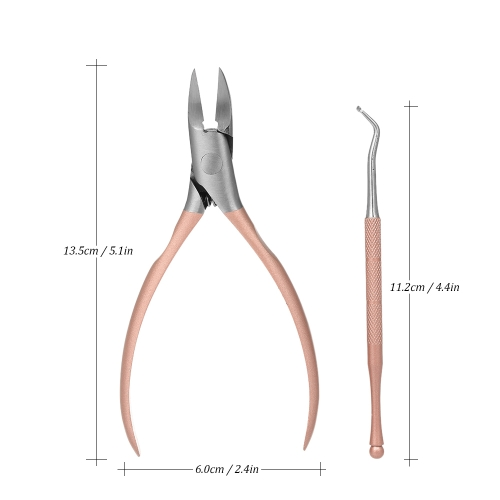 2 Pcs/set Foot Care Nail Clippers Toenail Trimmer Professional Paronychia Nipper Ingrown Nails Cutter