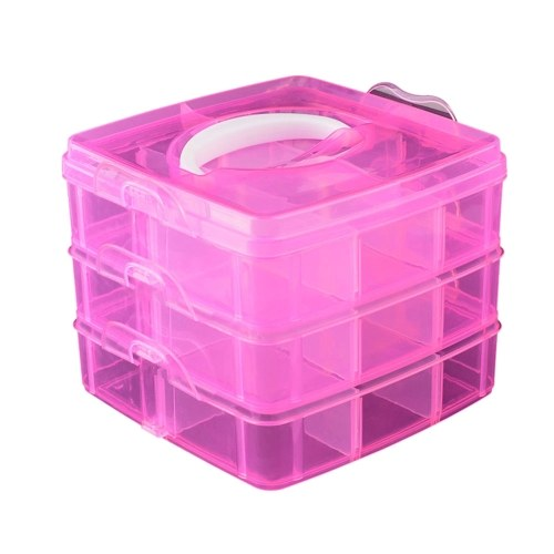 3 Layers Plastic Empty Storage Box Nail Art Rhinestone Tools Jewelry Beads  Organizer Container Detachable Makeup 486ad6a6abae